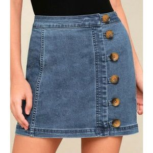 Free People Little Daisies Indigo Skirt - NWT!